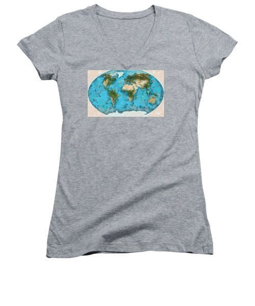 World Map Cartography Women's V-Neck T-Shirt (Junior Cut) by Georgi Dimitrov
