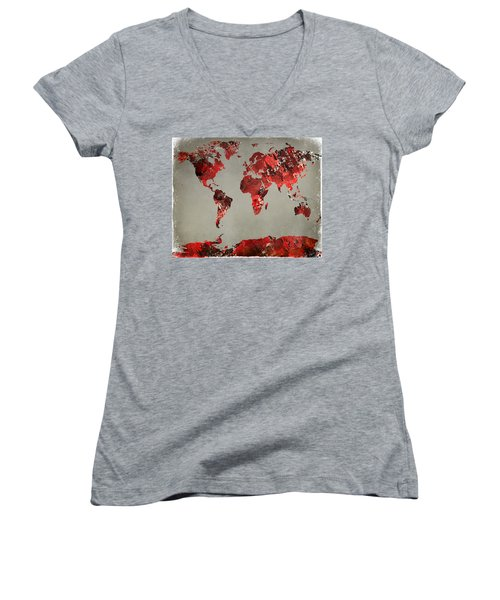 World Map - Watercolor Red-black-gray Women's V-Neck