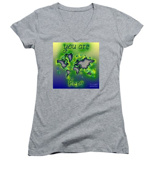World Map You Are Here Amuza In Blue Yellow And Green Women's V-Neck T-Shirt (Junior Cut) by Eleven Corners
