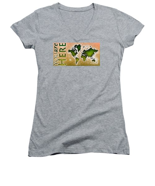 World Map You Are Here Novo In Green And Orange Women's V-Neck (Athletic Fit)