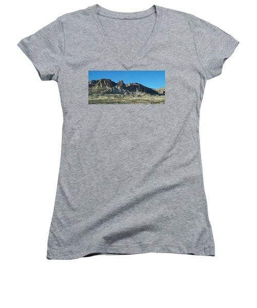 Women's V-Neck T-Shirt (Junior Cut) featuring the photograph Western Landscape by Eunice Miller