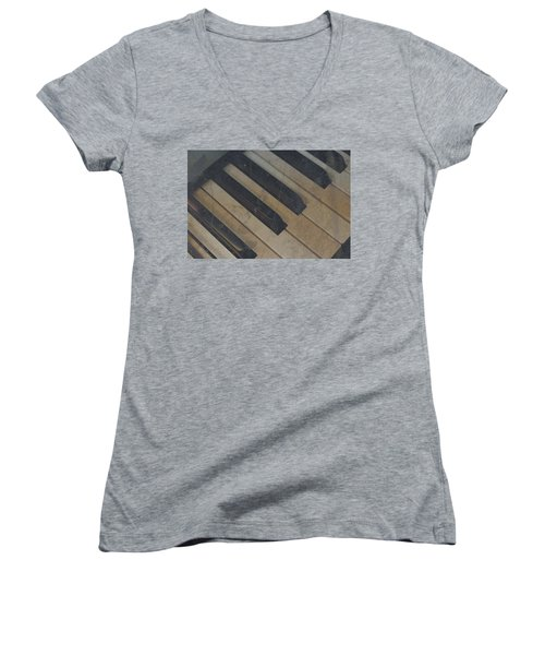 Women's V-Neck T-Shirt (Junior Cut) featuring the photograph Worn Out Keys by Photographic Arts And Design Studio