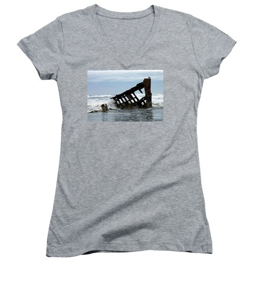 Women's V-Neck T-Shirt (Junior Cut) featuring the photograph Wreck Of The Peter Iredale by Chalet Roome-Rigdon