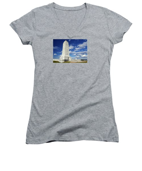 Wright Brothers Memorial D Women's V-Neck T-Shirt (Junior Cut) by Greg Reed