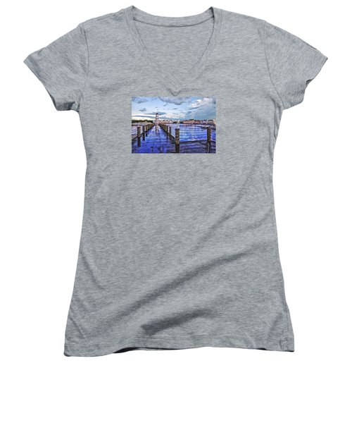 Yacht And Beach Club Lighthouse Women's V-Neck T-Shirt (Junior Cut) by Thomas Woolworth