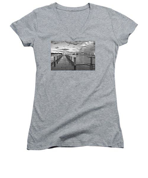 Yacht And Beach Lighthouse In Black And White Walt Disney World Women's V-Neck T-Shirt (Junior Cut) by Thomas Woolworth