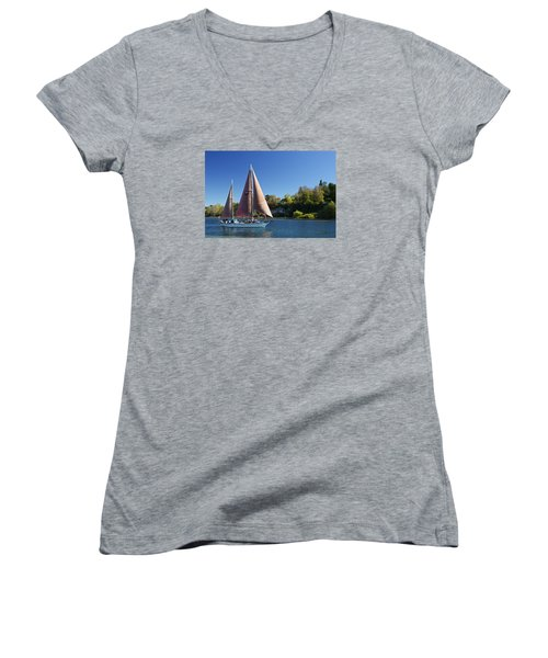 Yacht Fearless On Lake Taupo  Women's V-Neck T-Shirt (Junior Cut) by Venetia Featherstone-Witty