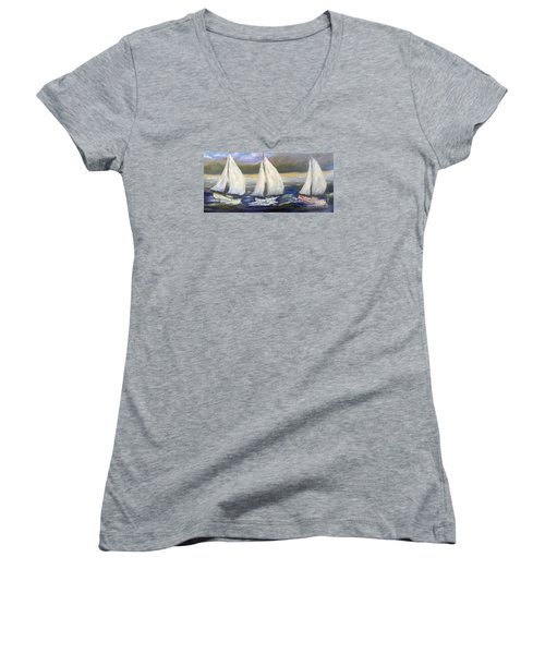 Yachts Sailing Off The Coast Women's V-Neck (Athletic Fit)