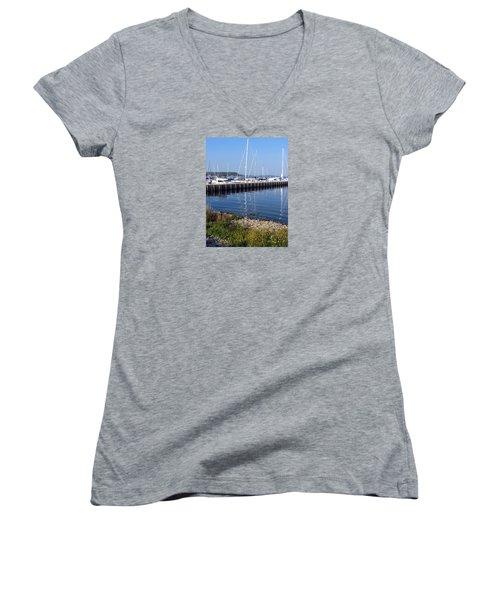 Yachtworks Marina Sister Bay Women's V-Neck T-Shirt (Junior Cut) by David T Wilkinson