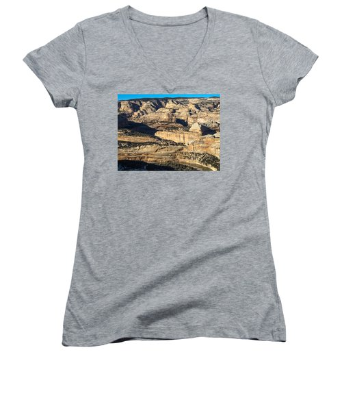 Yampa River Canyon In Dinosaur National Monument Women's V-Neck T-Shirt (Junior Cut) by Nadja Rider