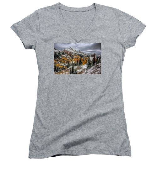 Women's V-Neck T-Shirt (Junior Cut) featuring the photograph Yankee Girl Mine by Ken Smith