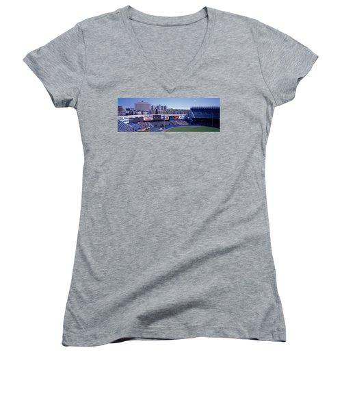 Yankee Stadium Ny Usa Women's V-Neck T-Shirt (Junior Cut) by Panoramic Images