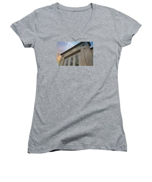 Yankee Stadium Women's V-Neck T-Shirt (Junior Cut) by Stephen Stookey