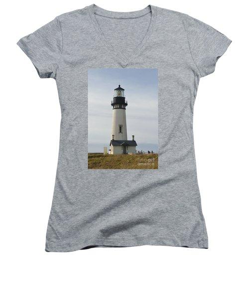 Yaquina Bay Lighthouse Women's V-Neck T-Shirt (Junior Cut) by Susan Garren