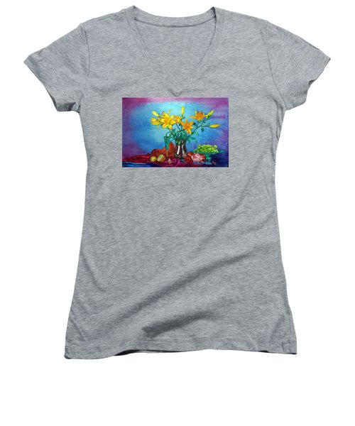 Yellow Lily In A Vase Women's V-Neck