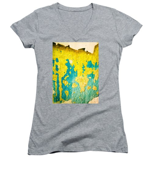 Women's V-Neck T-Shirt (Junior Cut) featuring the photograph Yellow And Green Abstract Wall by Silvia Ganora