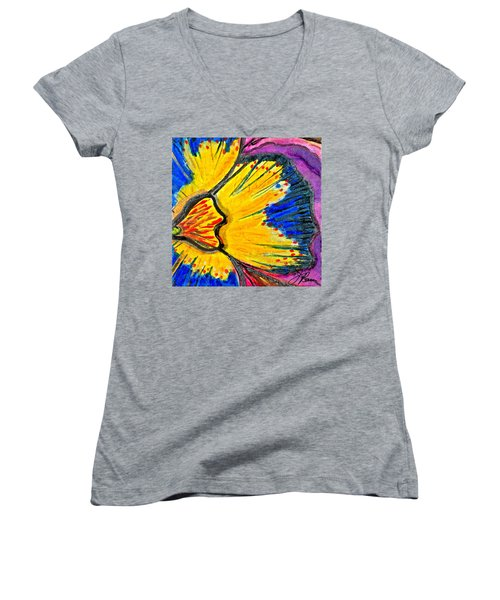 Women's V-Neck T-Shirt featuring the painting Yellow Blue Flower by Joan Reese