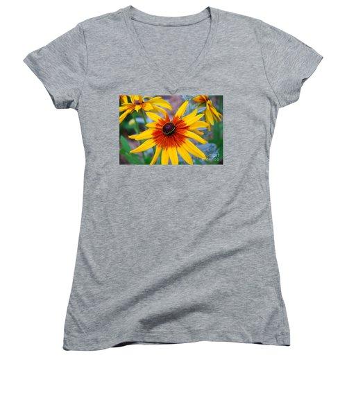 Women's V-Neck T-Shirt (Junior Cut) featuring the photograph Yellow Burst by Allen Beatty