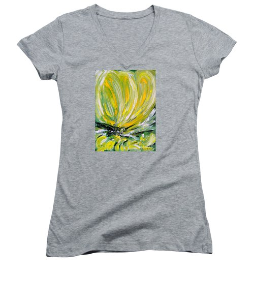 Women's V-Neck T-Shirt (Junior Cut) featuring the painting Yellow Butterfly by Jasna Dragun