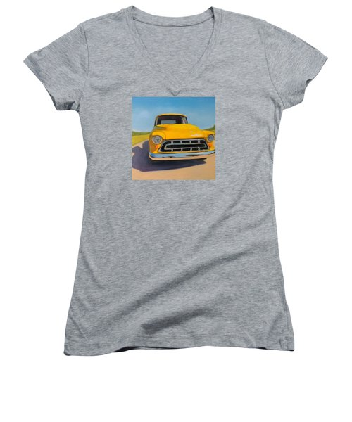 Yellow Chevy Women's V-Neck (Athletic Fit)