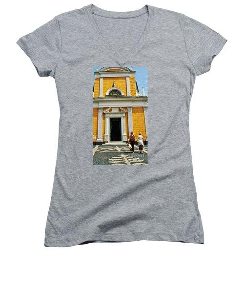 Women's V-Neck T-Shirt (Junior Cut) featuring the photograph Yellow Church by Allen Beatty