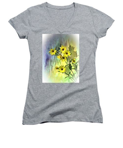 Women's V-Neck T-Shirt (Junior Cut) featuring the photograph Yellow Daisies by Judy  Johnson