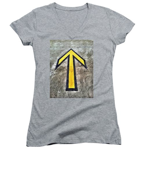 Yellow Directional Arrow On Pavement Women's V-Neck