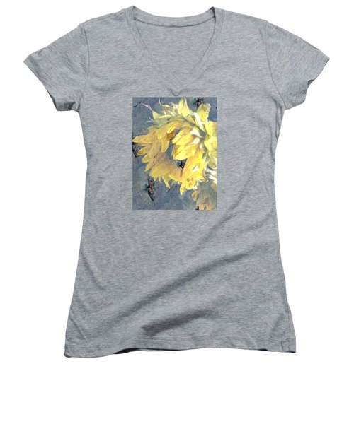 Women's V-Neck T-Shirt (Junior Cut) featuring the photograph Yellow Fading Flower by Patricia Januszkiewicz
