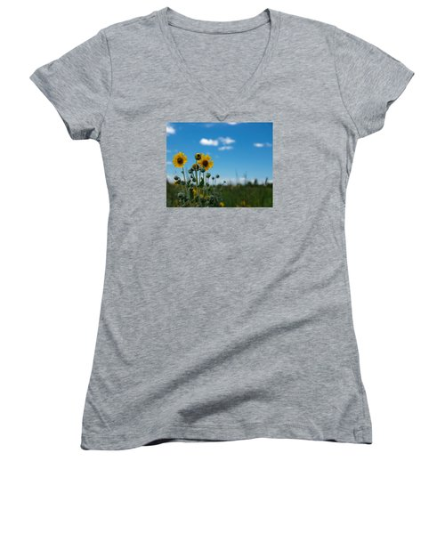 Yellow Flower On Blue Sky Women's V-Neck T-Shirt (Junior Cut) by Photographic Arts And Design Studio