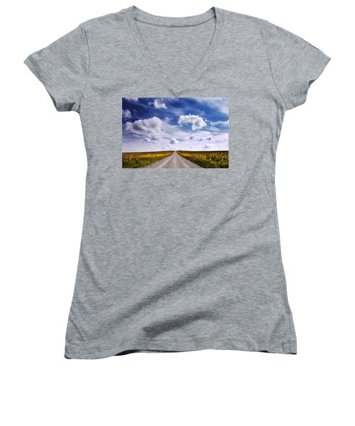 Yellow Flower Road Women's V-Neck T-Shirt