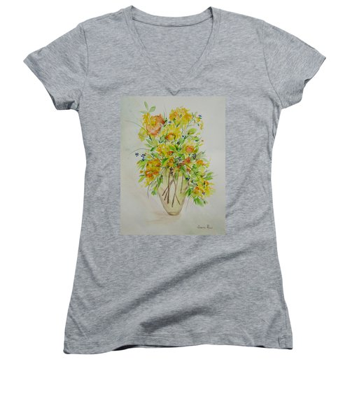 Yellow Flowers Women's V-Neck T-Shirt (Junior Cut) by Judith Rhue