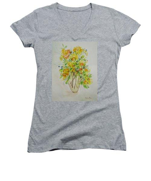 Yellow Flowers Women's V-Neck T-Shirt