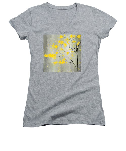 Yellow Foliage Impressionist Women's V-Neck (Athletic Fit)
