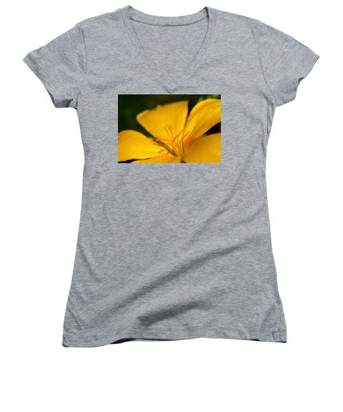 Women's V-Neck T-Shirt (Junior Cut) featuring the photograph Yellow by Greg Allore