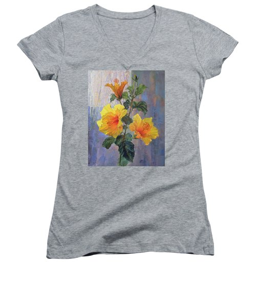 Yellow Hibiscus Flower Women's V-Neck T-Shirt