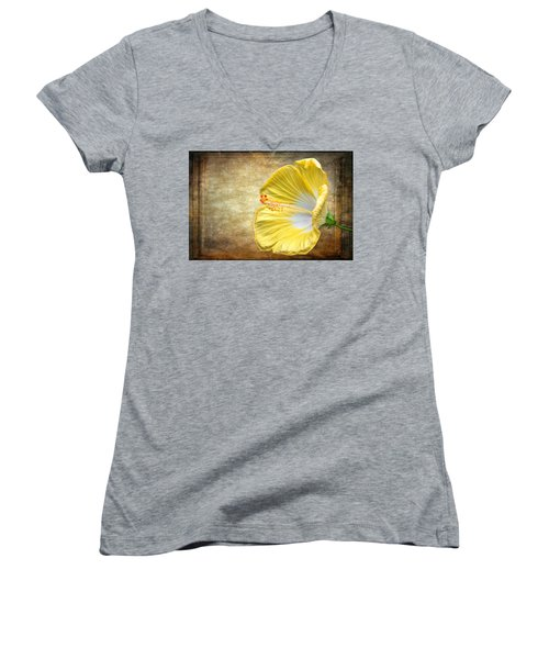 Yellow Hibiscus Women's V-Neck