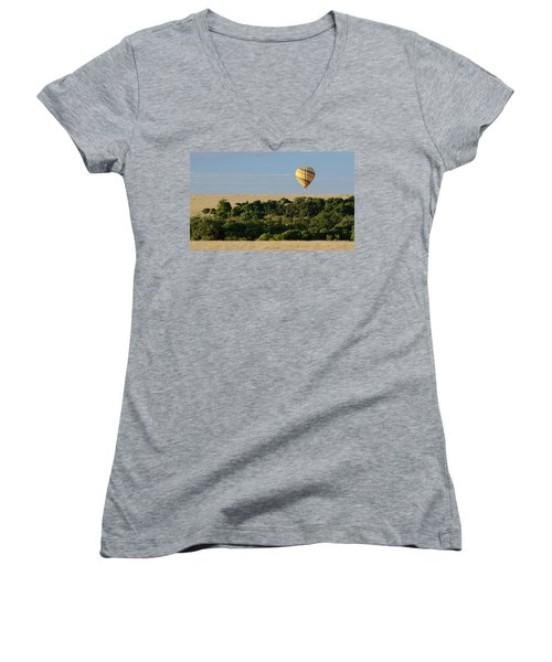 Women's V-Neck T-Shirt (Junior Cut) featuring the photograph Yellow Hot Air Balloon Masai Mara by Tom Wurl