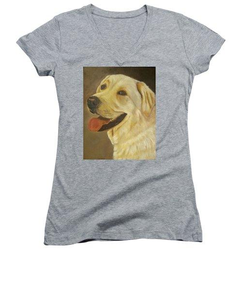 Yellow Lab Women's V-Neck T-Shirt (Junior Cut) by Sharon Schultz