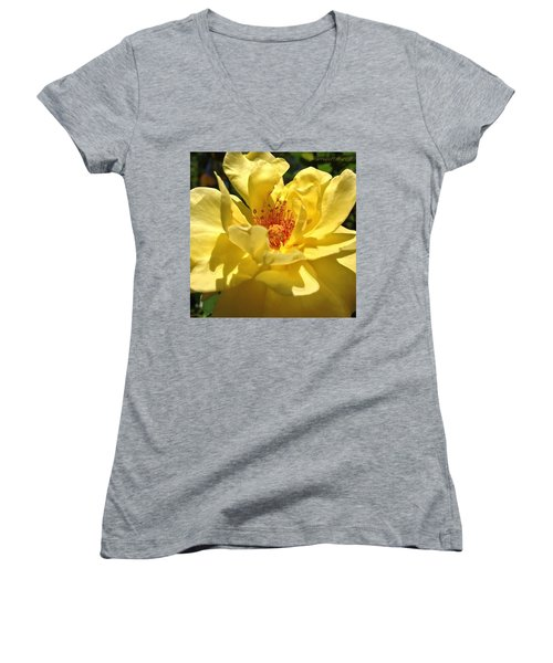 Yellow Monday Rose Women's V-Neck (Athletic Fit)