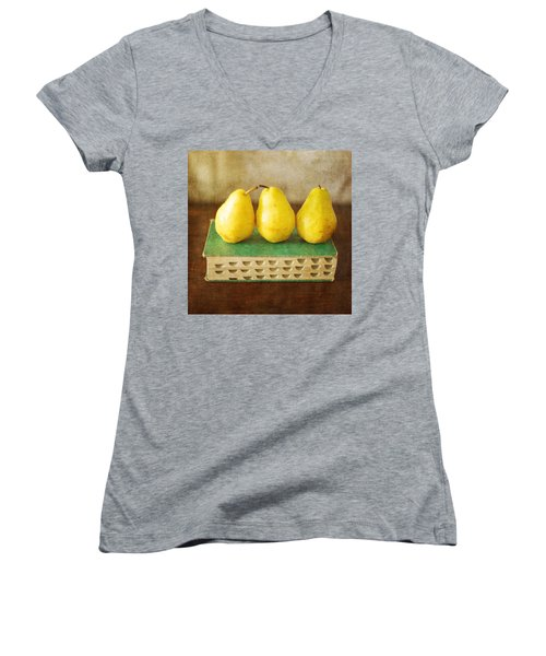 Yellow Pears And Vintage Green Book Still Life Women's V-Neck
