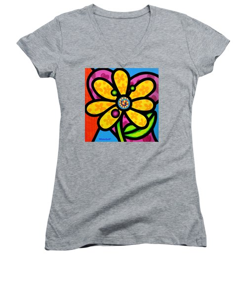 Yellow Pinwheel Daisy Women's V-Neck