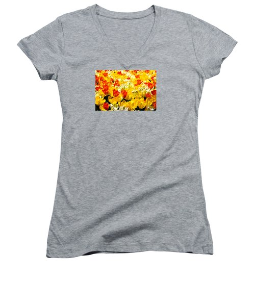 Yellow Red And White Tulips Women's V-Neck T-Shirt (Junior Cut) by Menachem Ganon