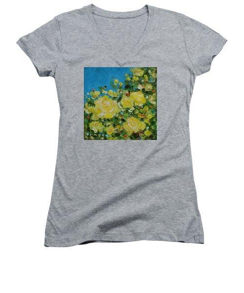 Yellow Roses Women's V-Neck T-Shirt