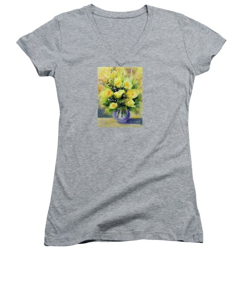 Yellow Roses Women's V-Neck T-Shirt (Junior Cut) by Kathy Braud
