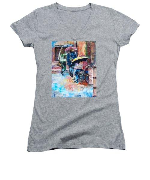 Yellow Umbrella Women's V-Neck T-Shirt (Junior Cut) by Janet Garcia