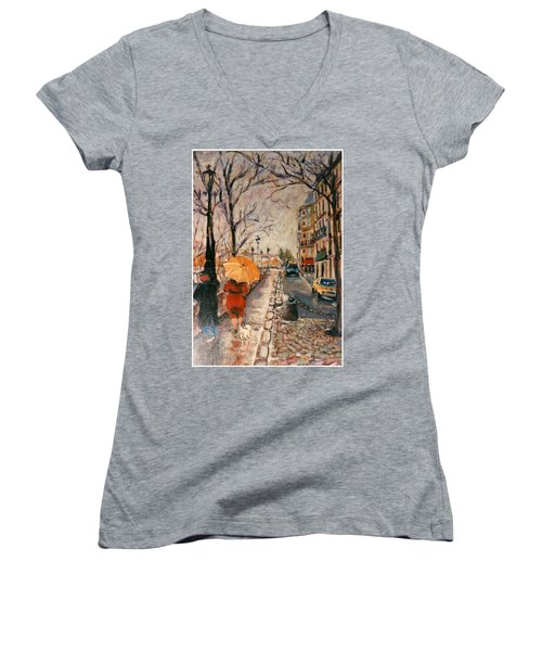 Women's V-Neck T-Shirt (Junior Cut) featuring the painting Yellow Umbrella by Walter Casaravilla