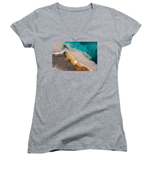 Women's V-Neck T-Shirt (Junior Cut) featuring the photograph Yellowstone Abstract by Sue Smith