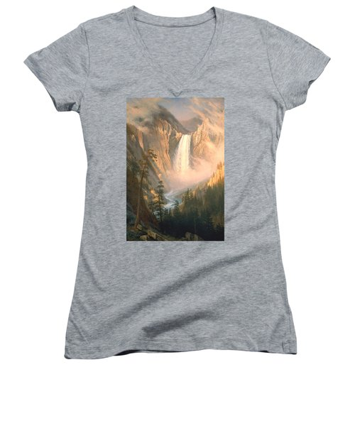 Yellowstone Women's V-Neck T-Shirt (Junior Cut) by Albert Bierstadt