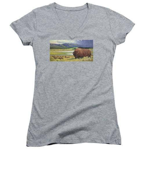 Women's V-Neck T-Shirt (Junior Cut) featuring the painting Yellowstone Bison by Rob Corsetti