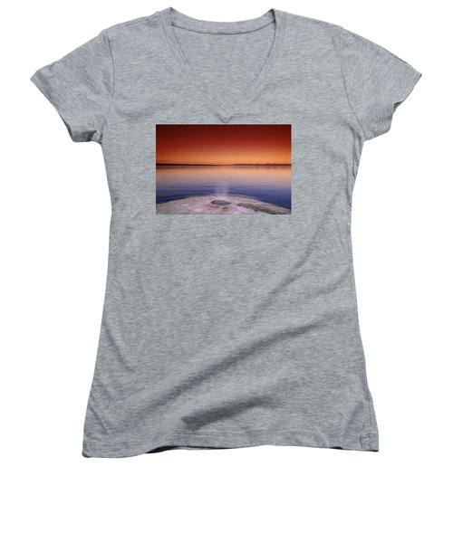 Yellowstone Lake And Geyser Women's V-Neck T-Shirt (Junior Cut) by Rich Franco